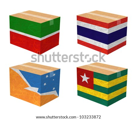 Nation Flag. Box recycled paper on white background. ( Tatarstan , Thailand , Tierra del Fuego Province - Argentina , Togo ) - stock photo