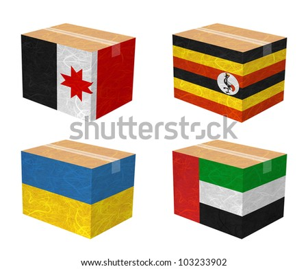 Nation Flag. Box recycled paper on white background. ( Udmurtia , Uganda , Ukraine , United Arab Emirates ) - stock photo