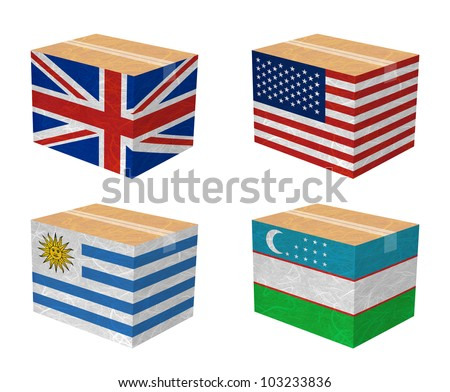 Nation Flag. Box recycled paper on white background. ( United Kingdom , United States of America , Uruguay , Uzbekistan ) - stock photo