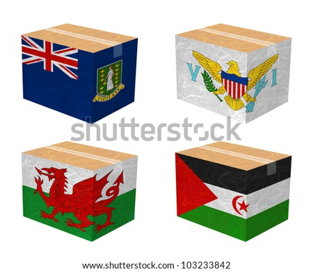 Nation Flag. Box recycled paper on white background. ( Virgin Islands - UK , Virgin Islands - US , Wales , Western Sahara ) - stock photo