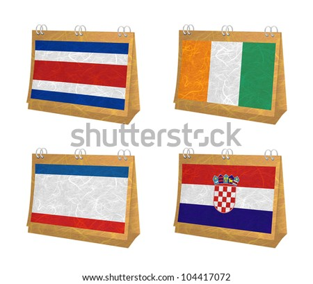 Nation Flag. Calendar recycled paper on white background. ( CostaRica, Cote dlvoire , Crimea , Croatia ) - stock photo