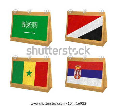Nation Flag. Calendar recycled paper on white background. ( Saudi Arabia , Sealand Principality , Senegal , Serbia )