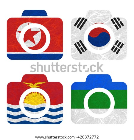 Nation Flag. Camera recycled paper on white background. ( Kiribati , Komi , Korea North , Korea South ) - stock photo