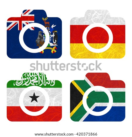 Nation Flag. Camera recycled paper on white background. ( Somaliland , South Africa , South Georgia and the South Sandwich Islands , South Ossetia ) - stock photo