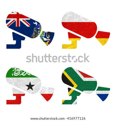 Nation Flag. CCTV recycled paper on white background. ( Somaliland , South Africa , South Georgia and the South Sandwich Islands , South Ossetia ) - stock photo
