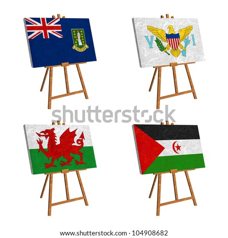 Nation Flag. Easel recycled paper on white background. ( Virgin Islands - UK , Virgin Islands - US , Wales , Western Sahara )