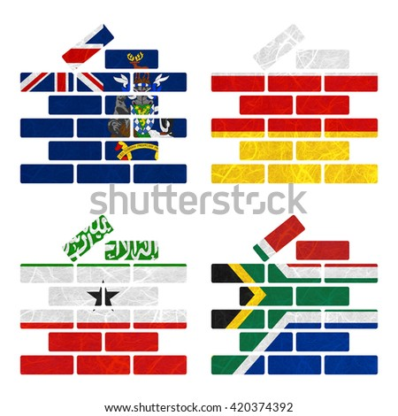 Nation Flag. Film strip recycled paper on white background. ( Somaliland , South Africa , South Georgia and the South Sandwich Islands , South Ossetia ) - stock photo