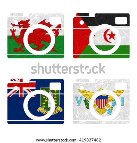 Nation Flag. Film strip recycled paper on white background. ( Virgin Islands - UK , Virgin Islands - US , Wales , Western Sahara )