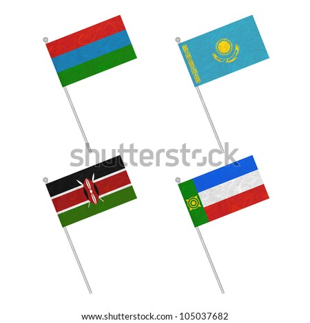 Nation Flag. Flag pole recycled paper on white background. ( Karelia , Kazakhstan , Kenya , Khakassia )