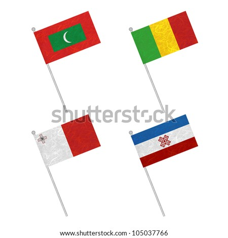 Nation Flag. Flag pole recycled paper on white background. ( Maldives , Mali , Malta , Mari El )