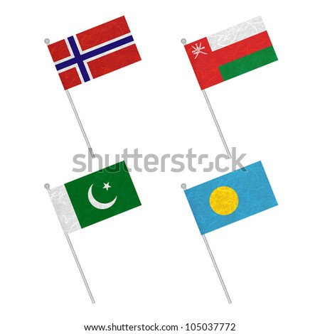 Nation Flag. Flag pole recycled paper on white background. ( Norway , Oman , Pakistan , Palau )