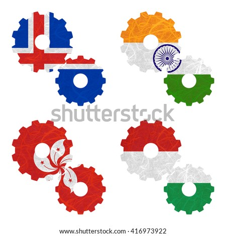 Nation Flag. Gear recycled paper on white background. ( Hong Kong , Hungary , Iceland , India ) - stock photo