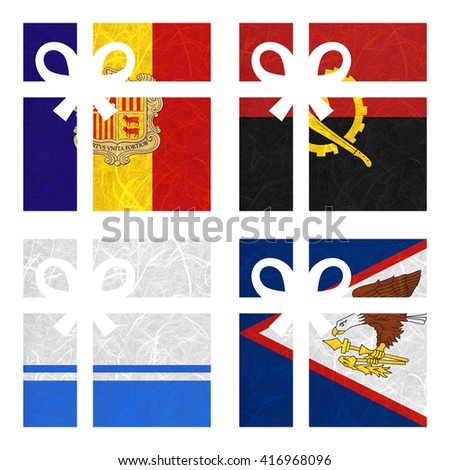 Nation Flag. Gift-box recycled paper on white background. ( Altai Republic , American Samoa , Andorra , Angola ) - stock photo