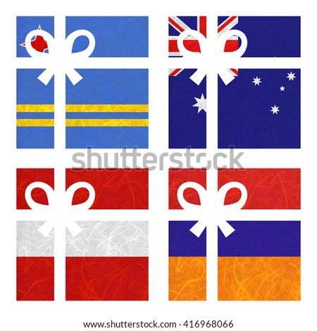 Nation Flag. Gift-box recycled paper on white background. ( Armenia , Aruba , Australia , Austria ) - stock photo