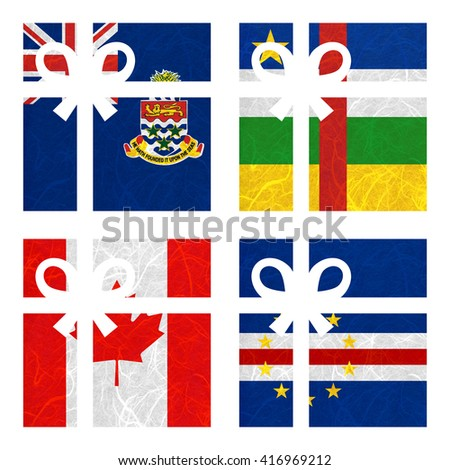 Nation Flag. Gift-box recycled paper on white background. ( Canada , Cape Verde , Cayman Islands , Central African Republic ) - stock photo