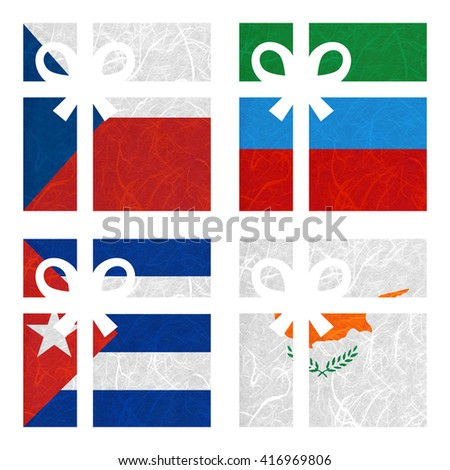 Nation Flag. Gift-box recycled paper on white background. ( Cuba , Cyprus , Czech Republic , Dagestan ) - stock photo