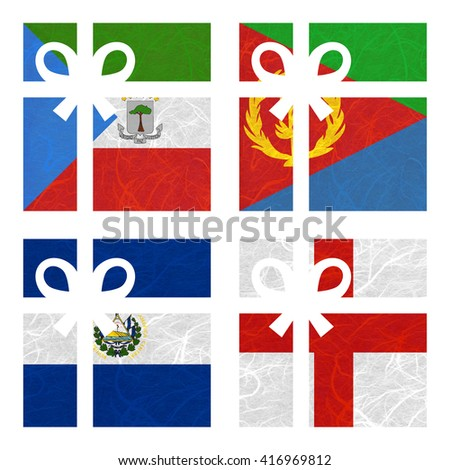 Nation Flag. Gift-box recycled paper on white background. ( El Salvador , England , Equatorial Guinea , Eritrea ) - stock photo