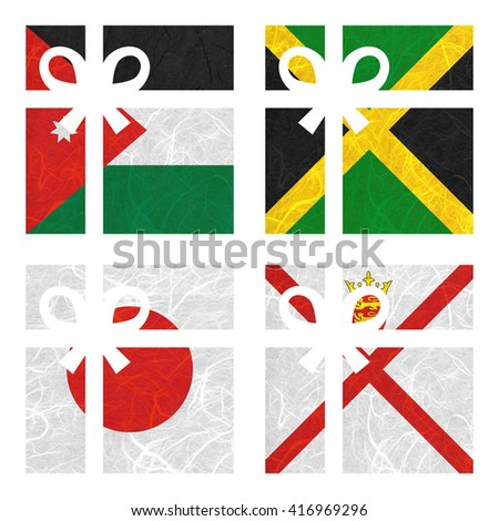 Nation Flag. Gift-box recycled paper on white background. ( Jamaica , Japan , Jersey , Jordan ) - stock photo