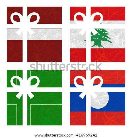 Nation Flag. Gift-box recycled paper on white background. ( Ladonia , Laos , Latvia , Lebanon ) - stock photo