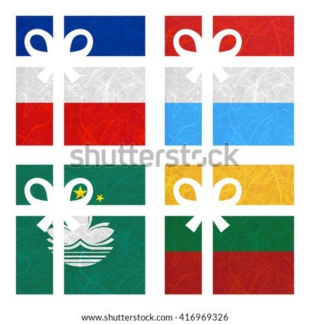 Nation Flag. Gift-box recycled paper on white background. ( Lithuania , Los Altos , Luxembourg , Macau ) - stock photo