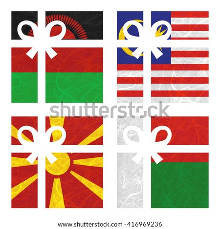 Nation Flag. Gift-box recycled paper on white background. ( Macedonia , Madagascar , Malawi , Malaysia ) - stock photo