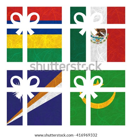 Nation Flag. Gift-box recycled paper on white background. ( Marshall Islands , Mauritania , Mauritius , Mexico ) - stock photo
