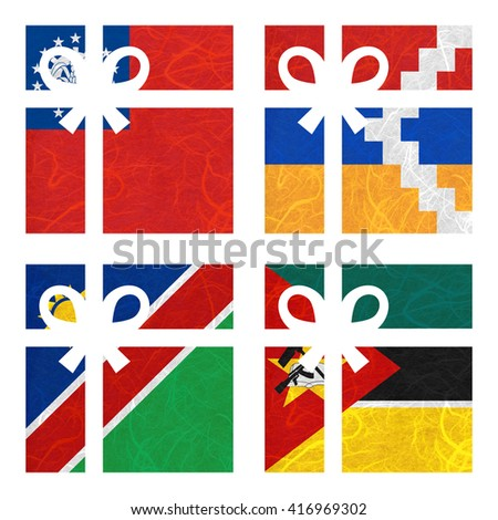Nation Flag. Gift-box recycled paper on white background. ( Mozambique , Myanmar , Nagorno-Karabakh Republic , Namibia ) - stock photo