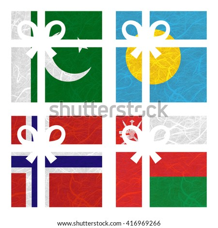 Nation Flag. Gift-box recycled paper on white background. ( Norway , Oman , Pakistan , Palau ) - stock photo