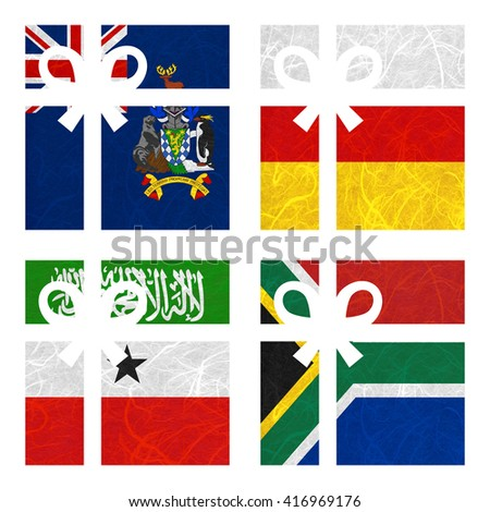 Nation Flag. Gift-box recycled paper on white background. ( Somaliland , South Africa , South Georgia and the South Sandwich Islands , South Ossetia ) - stock photo