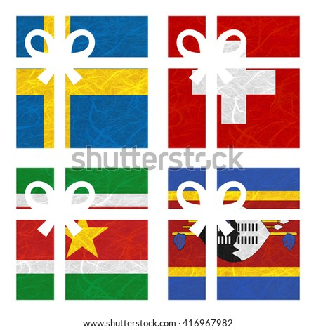 Nation Flag. Gift-box recycled paper on white background. ( Suriname , Swaziland , Sweden , Switzerland ) - stock photo