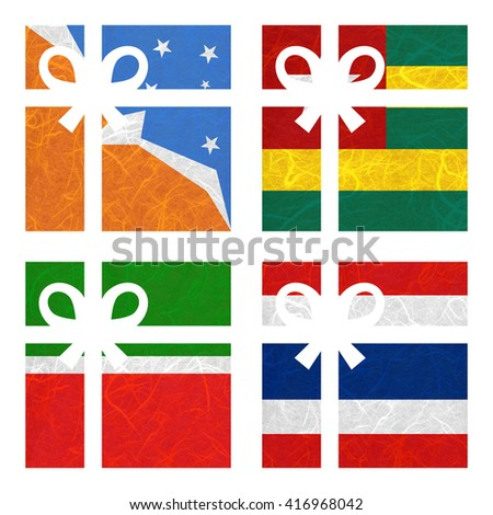 Nation Flag. Gift-box recycled paper on white background. ( Tatarstan , Thailand , Tierra del Fuego Province - Argentina , Togo ) - stock photo