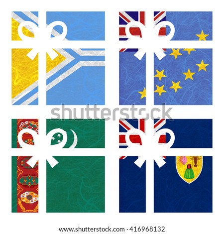 Nation Flag. Gift-box recycled paper on white background. ( Turkmenistan , Turks and Caicos Islands , Tuva , Tuvalu ) - stock photo