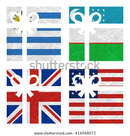 Nation Flag. Gift-box recycled paper on white background. ( United Kingdom , United States of America , Uruguay , Uzbekistan ) - stock photo