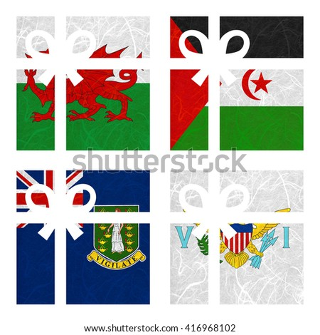 Nation Flag. Gift-box recycled paper on white background. ( Virgin Islands - UK , Virgin Islands - US , Wales , Western Sahara ) - stock photo