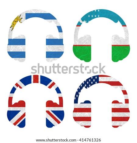 Nation Flag. Headphone recycled paper on white background. ( United Kingdom , United States of America , Uruguay , Uzbekistan ) - stock photo