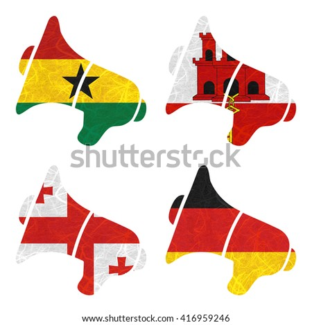 Nation Flag. Megaphone recycled paper on white background. ( Georgia , Germany , Ghana , Gibraltar ) - stock photo