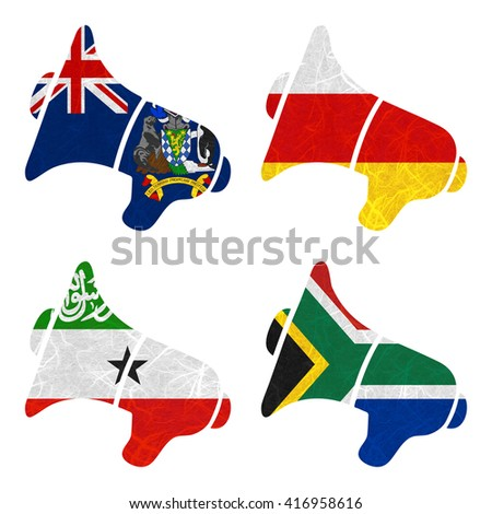Nation Flag. Megaphone recycled paper on white background. ( Somaliland , South Africa , South Georgia and the South Sandwich Islands , South Ossetia ) - stock photo