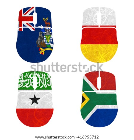 Nation Flag. Mouse recycled paper on white background. ( Somaliland , South Africa , South Georgia and the South Sandwich Islands , South Ossetia ) - stock photo