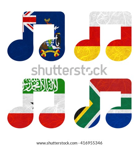 Nation Flag. Notes recycled paper on white background. ( Somaliland , South Africa , South Georgia and the South Sandwich Islands , South Ossetia ) - stock photo