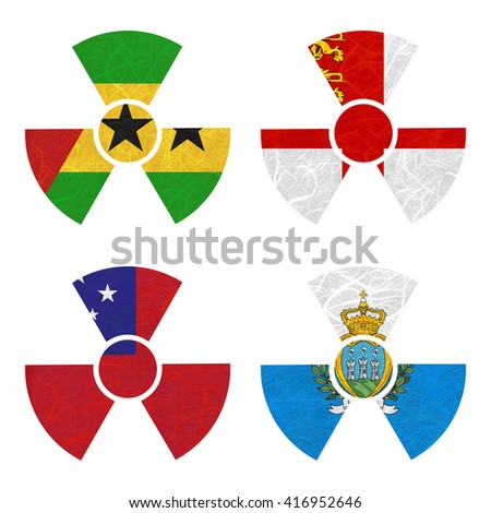 Nation Flag. Nuclear recycled paper on white background. ( Samoa , San Marino , Sao Tome and Principe , Sark )