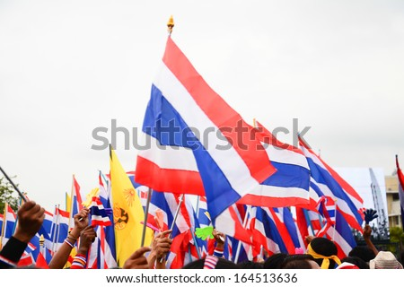 nation flag of Thailand  ,Thai Anti-Government Protesters in Bangkok  ,Thailand  ,  Nov 24 2013