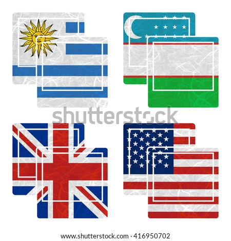 Nation Flag. Photo recycled paper on white background. ( United Kingdom , United States of America , Uruguay , Uzbekistan )