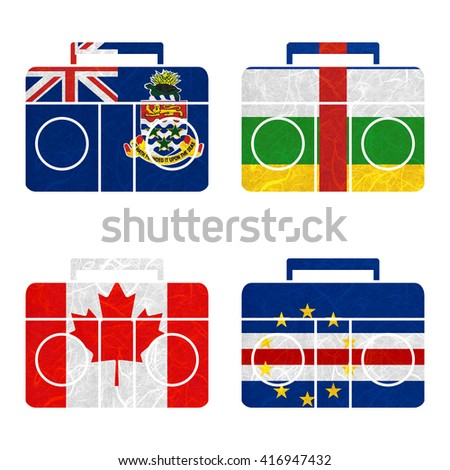 Nation Flag. Radio recycled paper on white background. ( Canada , Cape Verde , Cayman Islands , Central African Republic )