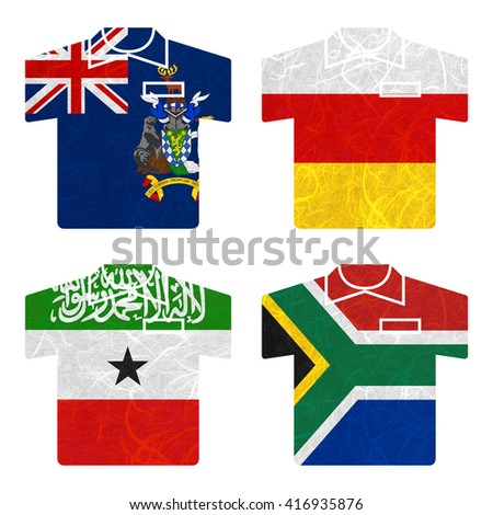 Nation Flag. Shirt recycled paper on white background. ( Somaliland , South Africa , South Georgia and the South Sandwich Islands , South Ossetia ) - stock photo