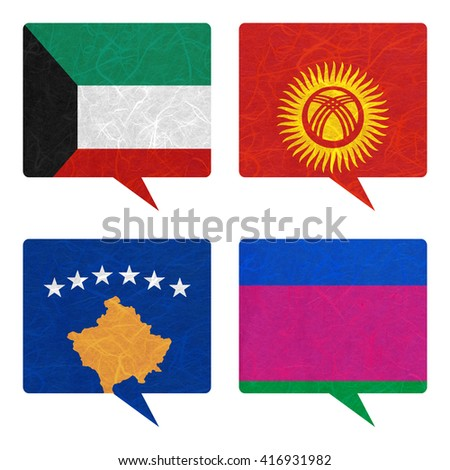 Nation Flag. Speech-balloons recycled paper on white background. ( Kosovo, Kuban Peoples Republic , Kuwait , Kyrgyztan )