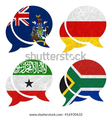 Nation Flag. Speech-balloons recycled paper on white background. ( Somaliland , South Africa , South Georgia and the South Sandwich Islands , South Ossetia ) - stock photo