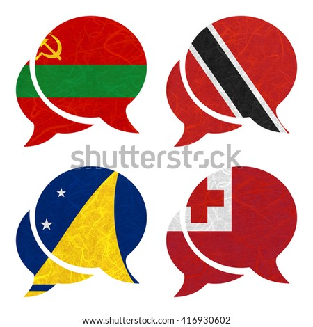 Nation Flag. Speech-balloons recycled paper on white background. ( Tokelau , Tonga , Transnistria , Trinidad and Tobago )