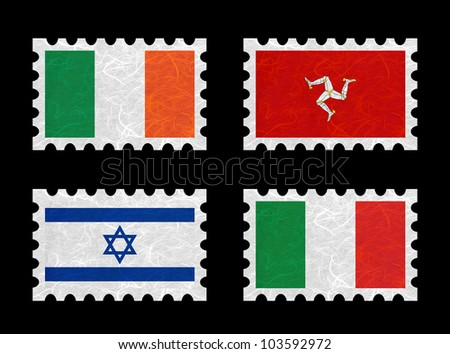Nation Flag. Stamp recycled paper on white background. ( Ireland , Isle of Man , Israel , Italy )