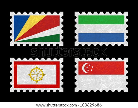 Nation Flag. Stamp recycled paper on white background. ( Seychelles , Sierra Leone , Sikkim , Singapore )