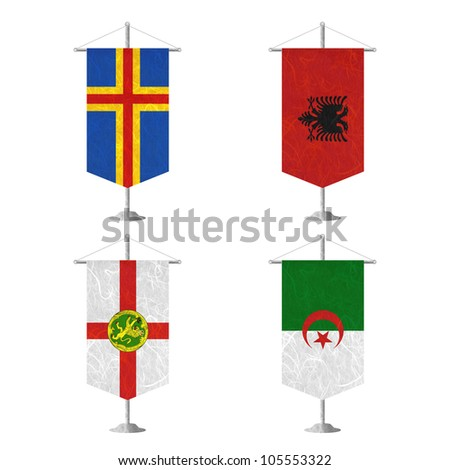 Nation Flag. Table flag recycled paper on white background. ( Aland , Albania , Alderney , Algeria ) - stock photo